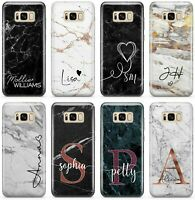 Initials Phone Case Personalised Name Marble Cover For Samsung Galaxy, P33