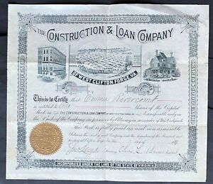 WEST CLIFTON FORGE, VA CONSTRUCTION & LOAN COMPANY Stock 1891. Allegany Co., VA