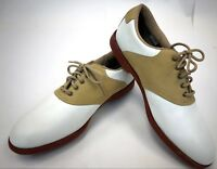 Classic White Tan Foot Joy Soft Joys Lace Up Womens Golf Shoes Cleats Size 9.5