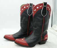 Moon & Star HAND MADE Leather COWGIRL Western Black Red Boots Womens Sz 7