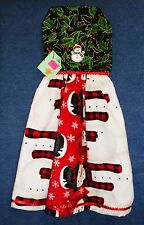 *NEW* Handmade Snowmen /& Poinsettias Holiday Hanging Kitchen Hand Towel #1374
