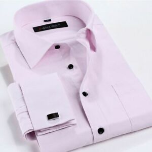 New Mens Dress Shirts Formal Long Sleeves French Cuff Business Work Shirts Tops
