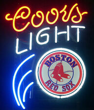 "Coors Light Mlb Boston Red So 17""x14"" Neon Sign Lamp Light Glass Bar With Dimmer"