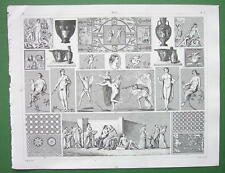 GREEK & Roman Paintings Mosaics  !! 1844 Antique Print Engraving