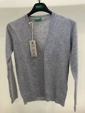 New Benetton Merino Wool V-neck Cardigan Grey Size XS