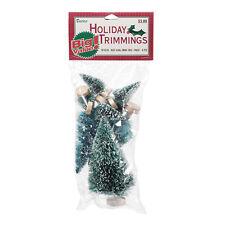 Darice Miniature Bottle Brush Sisal Christmas Trees - Green w/Snow tips 8pc Set