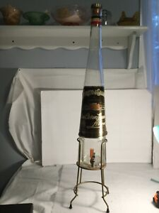 "34"" GALLIANO Gallon Bottle Decanter Spigot & Metal Stand Italy Vintage rare"