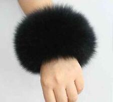 Genuine fox fur hand wrist warmer fur cuffs one pair black Christmas gifts