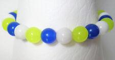 Neon yellow blue and white Quartz stacker bracelet