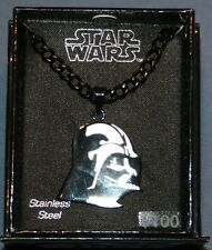 "Star Wars Stainless Steel Darth Vader Necklace New Pendant 22"" Chain"