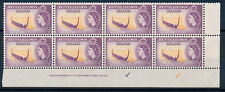 BRITISH SOLOMON ISLANDS 1956 DEFINITIVES SG82 IMPRINT/PLATE BLOCK OF 8 MNH