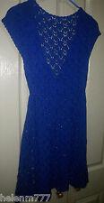 Avocado 12 Royal Blue Soft Knit V NeckTie Waist Scalloped A Line Hem Dress
