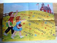 Vintage Elementary Educational School Poster - Science, ABC's, Reading, Numbers