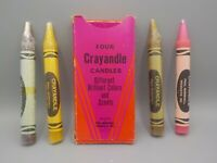 4 Vintage 70's XL Crayola Candle Scented Crayandles w/Box Paul Marshall Japan