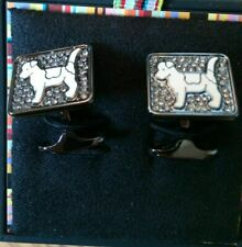 Paul Smith Cufflinks Square Crystal White Dog Cufflinks