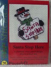MOUSELOFT STITCHLETS CROSS STITCH KIT ~ SANTA STOP HERE ~ CHRISTMAS ~ NEW