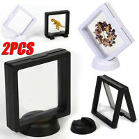 2Sets 90*90mm Plastic 3D Floating Coin Display Frame Holder Box Case With Stands
