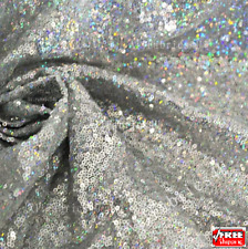 Silver Iridescent Sequin, Holographic, Glitters Multi Color Sequins on Mesh.