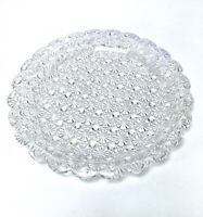 "VTG LG Wright Glass Co. Daisy & Button clear round 10"" platter dish plate Mint!"