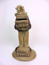 Vintage Pottery Figurine Signed Folk Art Whimsical Student