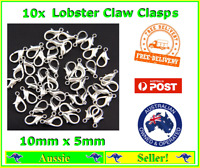 10x Silver Plated Metal Lobster Claw Clasps Clasp Hooks 10mm x 5mm Bracelet