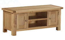 Roseland Furniture Surrey Oak Light Honey Waxed Large TV Unit - Brown