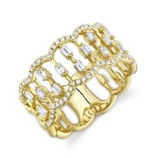 14k Yellow Gold Diamond Open Ring Baguette Round Floating Scallop Wide Cocktail