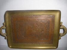Antique bronze tray & Guiseppe Guzzardi scene after painting La Note Difficile