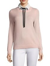 NWT Joie Rika Necktie Sweater Collared Layered Shirt Cashmere Wool Pink Bow XS