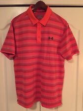 ⛳New Under Armour Coldblack Mens Large-L Golf/Polo Shirt -Orange/Gray Stripe-$70