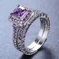 3ct Princess Cut Purple Amethyst Engagement Ring 14k WhiteGold Finish Bridal Set