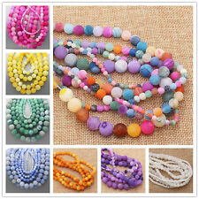 """NEW 6-14mm Frost Crackle Agate Round Loose Beads 15"""" Multi-attribute selection"""