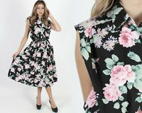 Vintage 80s Romantic Floral Dress Black Secretary Full Skirt Pockets Midi Maxi