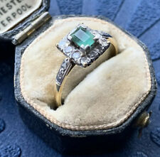 Art Deco 18ct Yellow Gold And Platinum Emerald And Diamond Square Halo Ring.