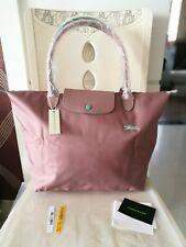 Longchamp New Le Pliage Nylon Tote Handbag pink Horse Embroidery