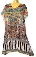 TS top TAKING SHAPE plus sz M / 16,18,20 Tribal Coverup swimwear crystals NWT!