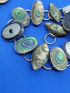ART Deco Cufflink Bracelet  Sterling silver and Abalone