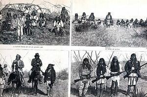 Apaches GERONIMO 1886  NATCHEZ Indians Captive Battle FINE Matted Antique Print