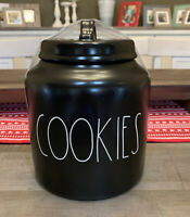 "Rae Dunn - COOKIES - LL Black Large 8"" Canister w/ Lid - NEW"