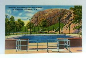 Manchester NH Municipal Swimming Pool Rock Rimmon Linen Vintage Postcard