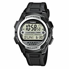 Casio Black Digital Watch Referee Sport Twin Stopwatch World Time 100m W756-1AV