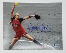 Jennie Finch Autographed/Signed 8 X 10 Pitching Photo W/ 1 Insc Beckett Cert