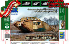 Master Box 72001 WWI British MK I Male Tank (Artillery Version) plastic kit 1/72