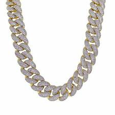 Two Tone Gold Plated Simulated Diamond Iced Cuban Link Chain Necklace Wide 18mm