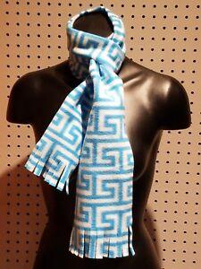 New Handmade Women's /Men's Blue & White Maze Fleece Fringed Winter Scarf