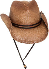 7dff11f49b6 PETER GRIMM NEW Mens Tea Stained Straw Round Up Cowboy Hat w  Leather Chin  Strap