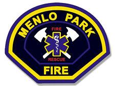 4x4 inch MENLO PARK Fire Dept Logo Shaped Sticker - firefighter fireman ca mpfd