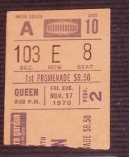 """Queen"" Freddie Mercury ""Jazz Tour"" Madison Square Garden Nyc Nov.17 1978 Stub"