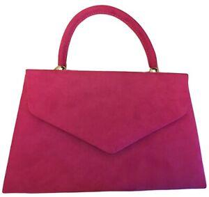 Cerise Faux Suede Evening Clutch Bag Top Handle Envelope Handbag Hot Pink Grab