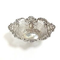 Vintage Walker & Hall Sheffield England Sterling Silver Lattice Floral Dish 83g